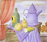 Fernando Botero Still Life With Green Bottle painting